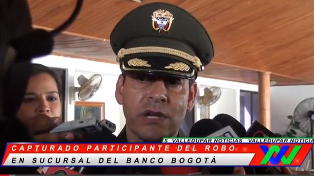 Capturado participante del robo en sucursal del banco Bogotá enValledupar.