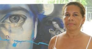 """Ana Arrieta, de la Red de Voceros y Voceras de la campaña """"Párala ya, nada justifica las violencias contra las mujeres"""". Obra de Liliana Cervantes."""