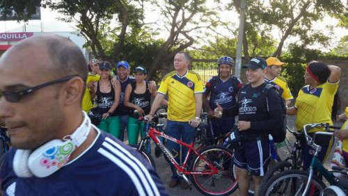 Día de la bicicleta, día del partidoColombia-Brasil