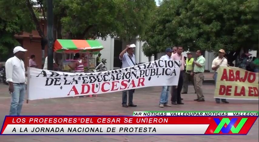 Profesores del Cesar se unen a la jornada Nacional deprotesta
