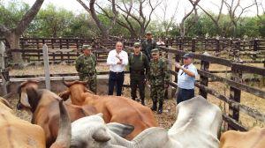 El gerente del ICA Cesar RAfael Murgas le explica al MinAgriculltura Aurelio Iragorri el trabajo conjunto de las instituciones para controlar contrabando
