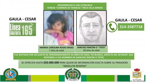 Niña de siete años desapareció en sector rural de Valledupar, $50 millones porinformación