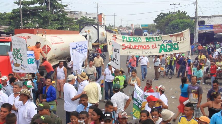 Productores de la costa Caribe realizaron marcha a Bosconia pidiendo soluciones al gobiernonacional