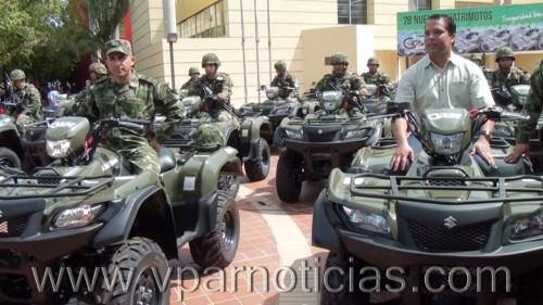 Entregan 28 cuatrimotos a la fuerza pública deldepartamento