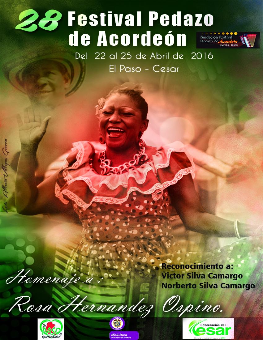 Afiche oficial del XXVIII Festival Pedazo deAcordeón
