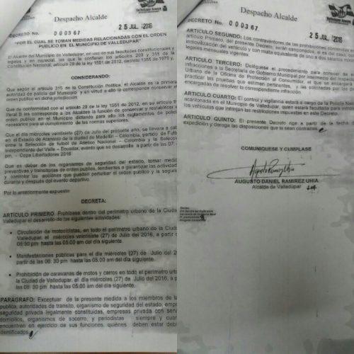 Alcaldía de Valledupar prohíbe circulación de motocicletas por encuentro futbolístico Colombia-Ecuador