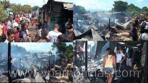 """Nueve familias quedaron """"en la calle"""" por incendio de sus viviendas en la invasión Brisas de laPopa"""