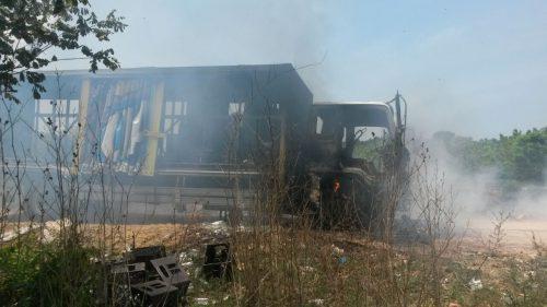 El ELN habría incinerado camión repartidor de cervezas en elCesar