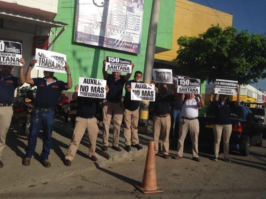 Protesta en Santana Distribuciones porinseguridad