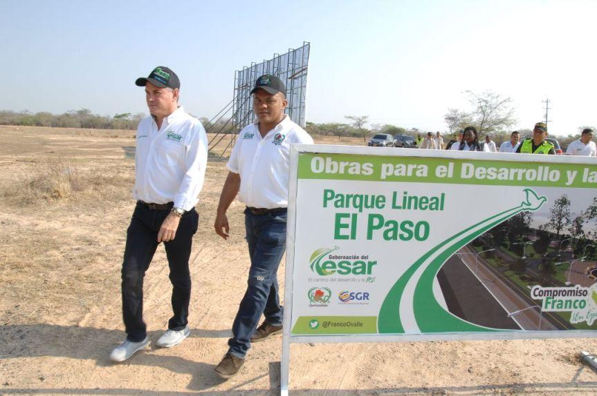 El Gobernador Ovalle y el alcalde de El Pasodieron inicio a construcción del parque lineal en esemunicipio