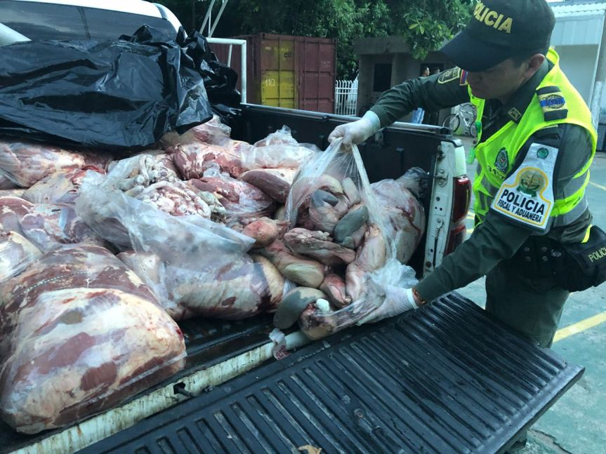 media tonelada de carne incautada