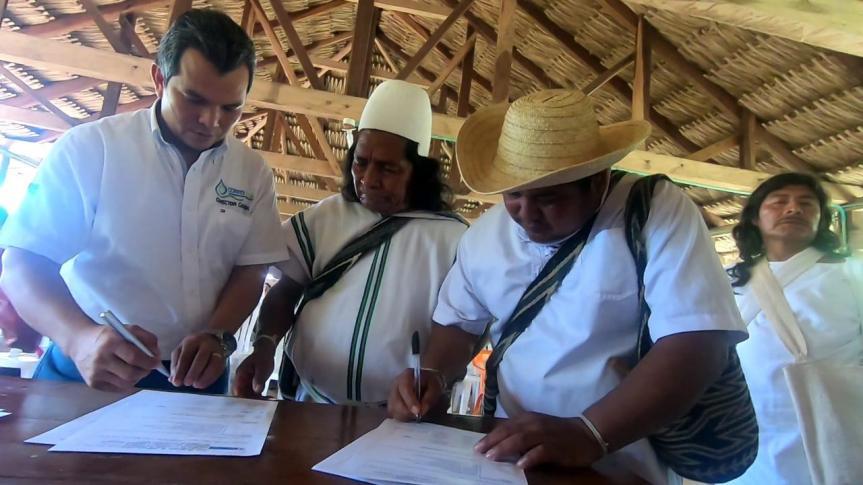 Corpocesar y los pueblos indígenas de la Sierra Nevada de Santa Marta firman acuerdos en el marco del proceso de formulación del Pomca ríoGuatapurí