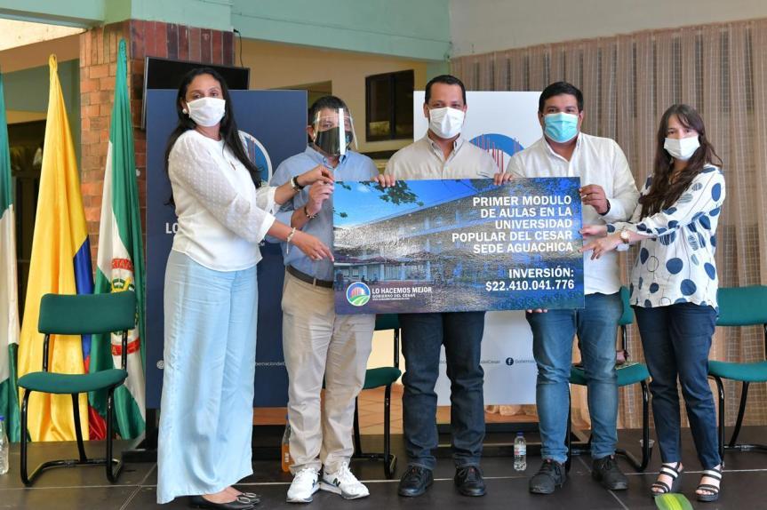 Gobernador Monsalvo firmó acta de inicio para construir nuevas aulas en sede de la UPC deAguachica